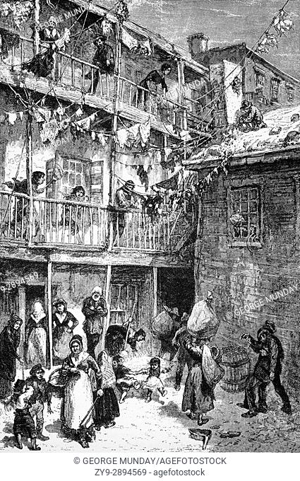 1879: Rag-picker Court in Mulberry Street, home of the Rag Pickers, a career choice of sort for poor residents, who eked out a living sorting through refuse on...