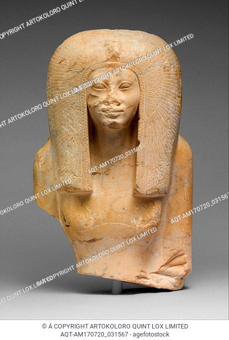 Upper Part of the Seated Statue of a Queen, New Kingdom, Late Dynasty 17–Early Dynasty 18, ca. 1580–1550 B.C., From Egypt, Upper Egypt, Thebes, Asasif