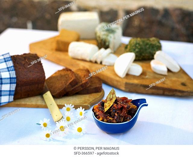 Fig jam, home-made rye bread and cheese