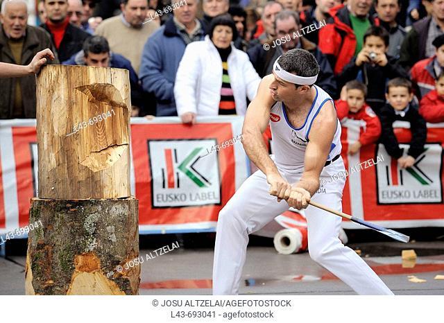 'Aizkolari' man cutting log with an axe, demonstration of 'aizkora' (traditional Basque sport). Mondragon, Euskadi, Spain