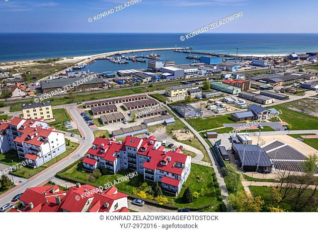 Aerial view from tower of so called House of Fisherman in Wladyslawowo town on the Baltic Sea coast, Pomeranian Voivodeship of Poland