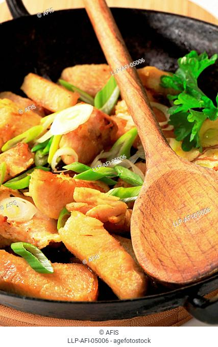 Roasted pieces of chicken breast with spring onion