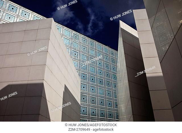 Exterior of the Institut du Monde Arabe (IMA) or Arab World Institute (AWI), Paris, France by Architect Jean Nouvel