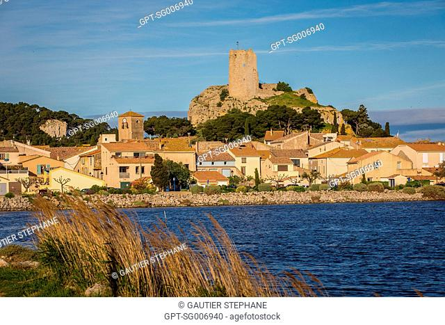 CHARLES TRENET PROMENADE, SEA AND LAND CULTURAL CIRCUIT OF GRUISSAN GOING ALONG THE GRUISSAN POND, WITH A VIEW OF THE BARBEROUSSE TOWER AT THE CHATEAU OF...