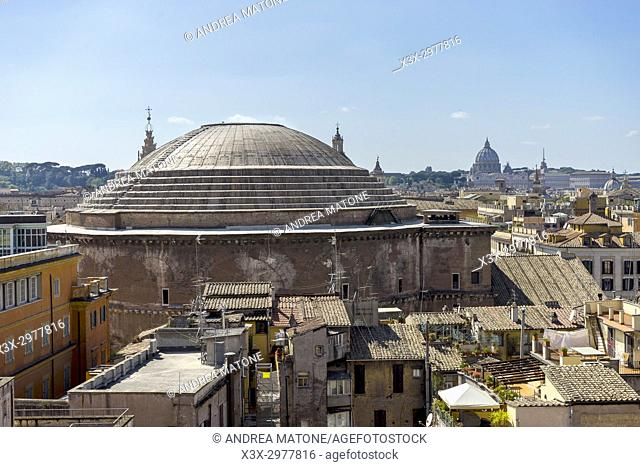 Roman pantheon outside view Rome Italy