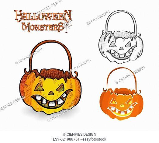 Halloween monster pumpkin lantern illustration EPS10 file