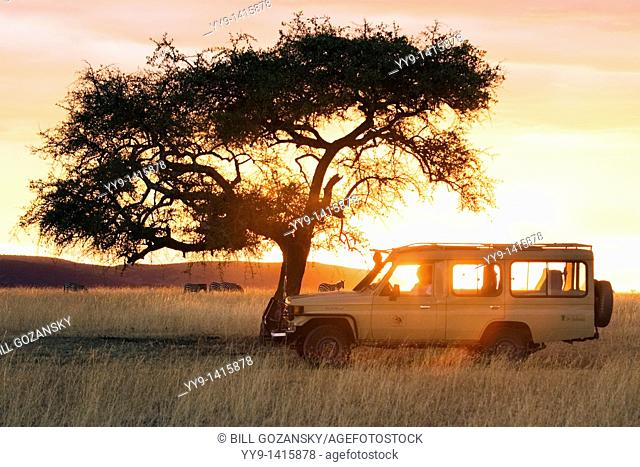 Safari vehicle in the sunset - Masai Mara National Reserve, Kenya