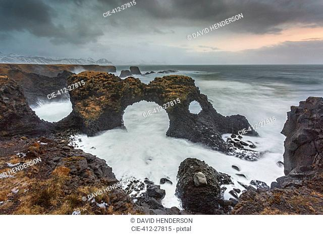 Rock formations among stormy ocean, Amarstapi, Snaefellsnes, Iceland