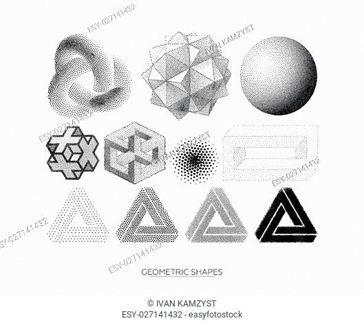 Big set of stylized geometric shapes. Design elements perfectly complement creative projects
