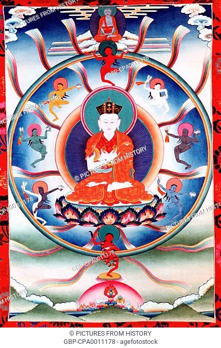 China / Tibet: Miyo Dorje, the 8th Karmapa Lama (1507-1554), 20th century thangka painting
