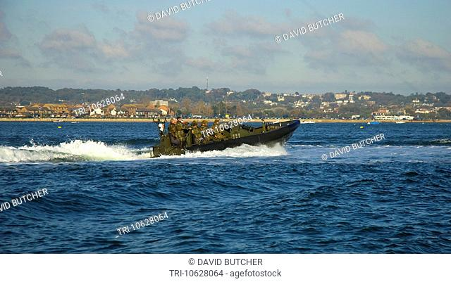 Poole is home to a section of the Royal Marines and they can often be seen heading out of the harbour in their RIBs for training