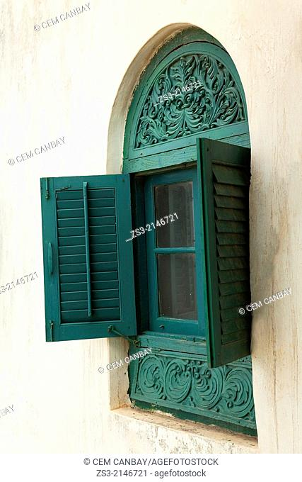 An old arabic-style window in old town, Stone Town, Unguja Island, Zanzibar Archipelago, Tanzania, East Africa