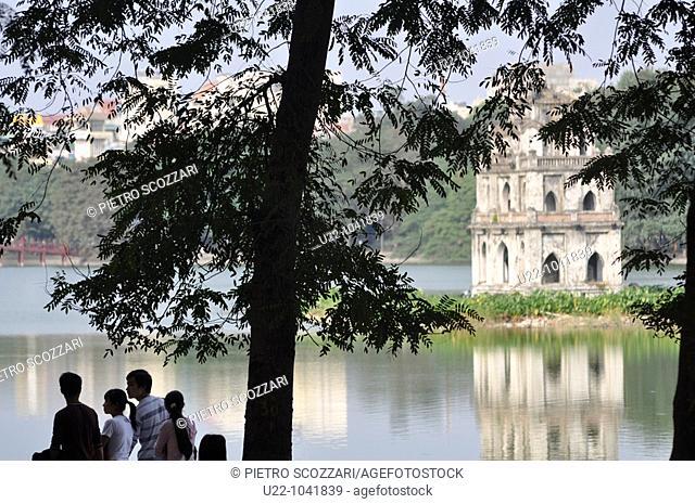 Hanoi (Vietnam): the Hoan Kiem Lake, with the Turtle Pagoda