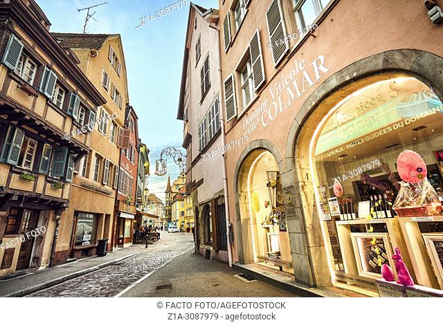 Wine shop at Colmar city center. Alsace. Grand Est. France