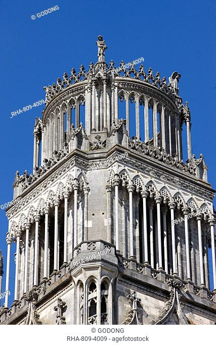Tower of Sainte-Croix Holy Cross cathedral, Orleans, Loiret, France, Europe
