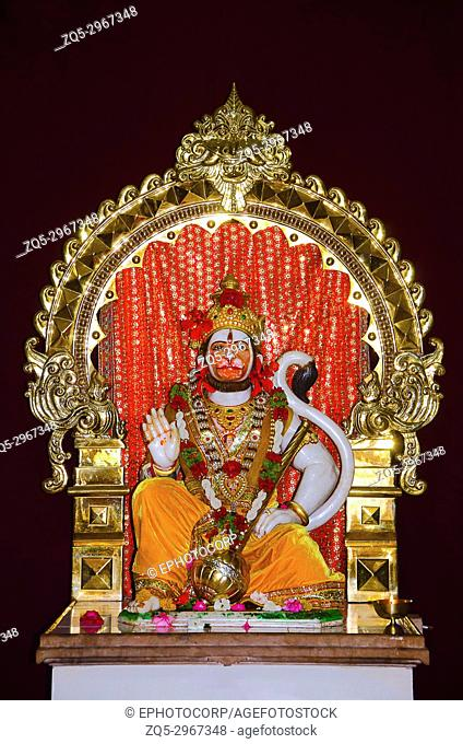 The idol of Lord Hanuman - Maruti. Made of white marble. Prabhaval is made of brass. Entrance of Chinmay Vibhooti, Kolvan, Maharashtra, India