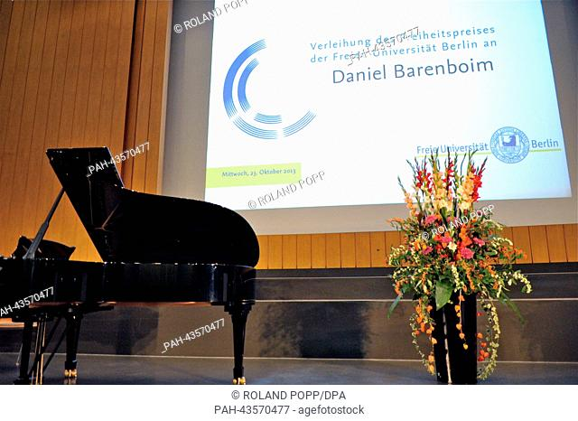 The stage during the ceremony for the Freedom Award of Freie Universitaet Berlin is pictured with a piano and flowers in the Henry Ford Building of the Freie...