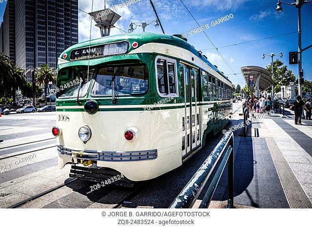 Tram in the streets of San Francisco California