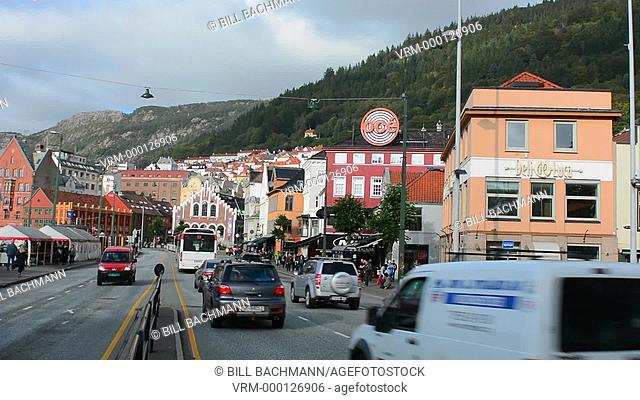 Bergen Norway Bryggen old towntraffic in tourist area street in BRYGGEN scenic color
