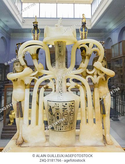Egypt, Cairo, Egyptian Museum, Tutankhamon alabaster, from his tomb in Luxor : Composite perfume vase, 2 Nile gods (called Hapy)