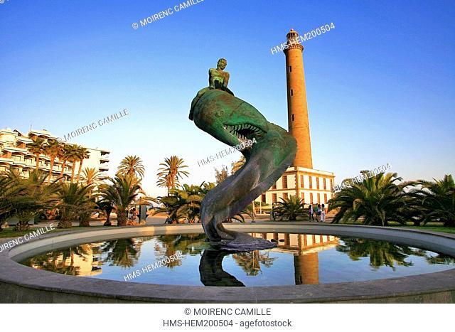 Spain, Canary Islands, Gran Canaria, Punta Maspalomas, lighthouse