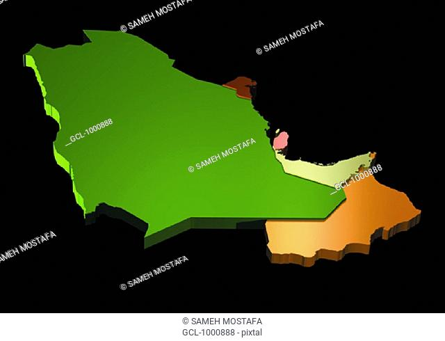 map of Saudi Arabia, Oman, UAE, Qatar, Bahrain and Kuwait