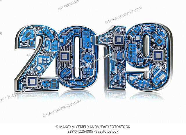 2019 on circuit board or motherboard with cpu isolated on white. Computer technology and internet commucations concept. Happy new 2019 year