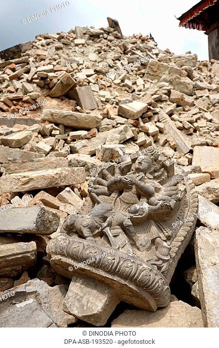 Temple destroyed, earthquake, bhaktapur, kathmandu, nepal, asia