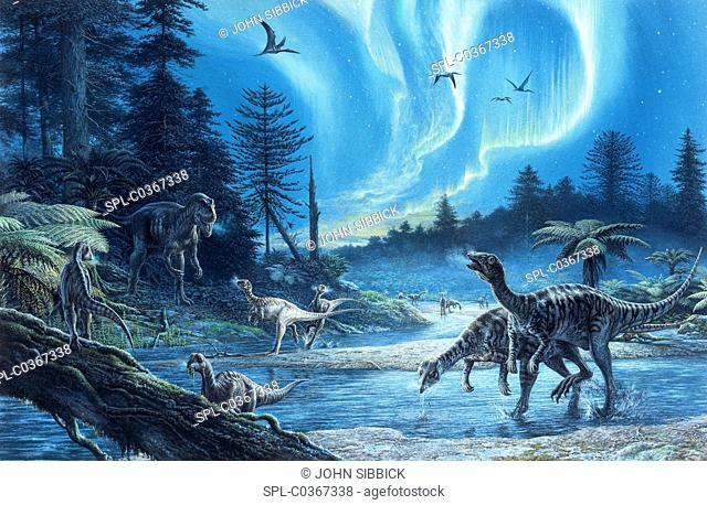 South Polar dinosaurs, illustration