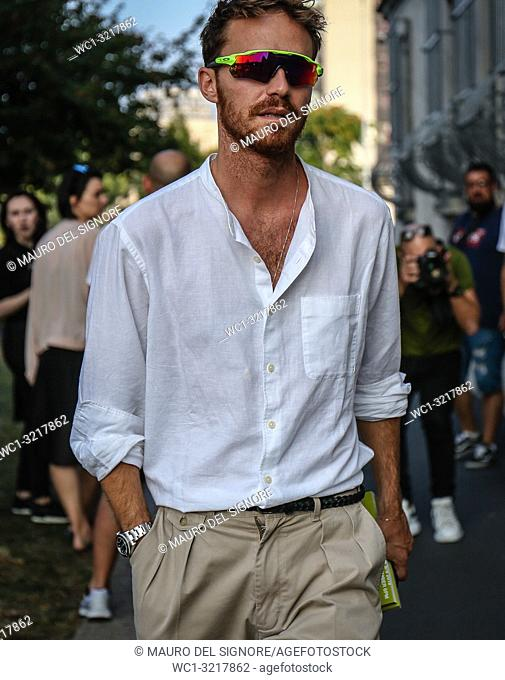 MILAN, Italy- September 20 2018: Men on the street during the Milan Fashion Week