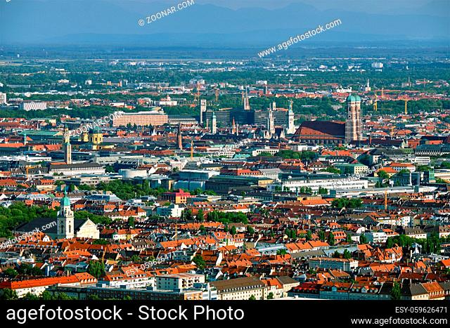 Aerial view of Munich center from Olympiaturm (Olympic Tower). Munich, Bavaria, Germany