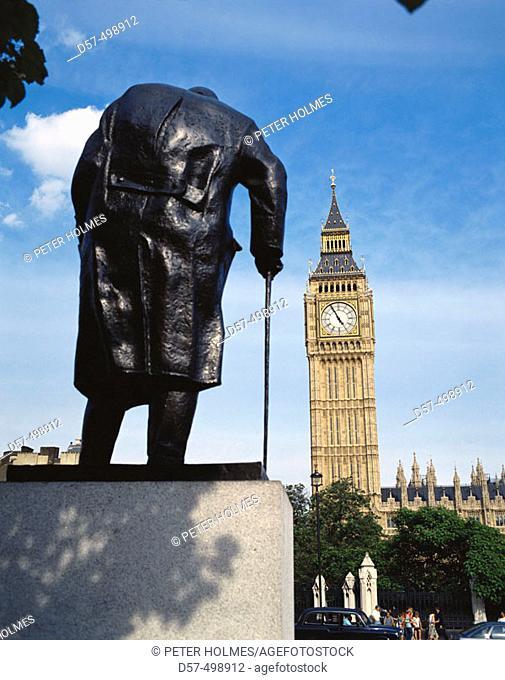 Winston Churchill statue and Big Ben. London. England