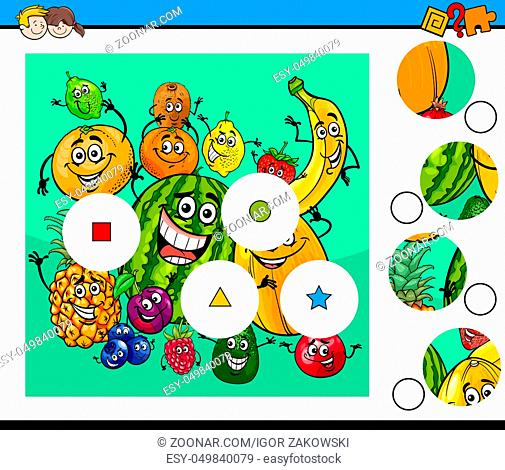 Cartoon Illustration of Educational Match the Pieces Jigsaw Puzzle Game for Children with Happy Fruits Characters