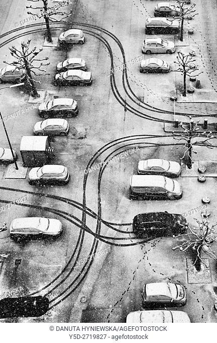 patterns in snow, parking scene, Geneva, Switzerland