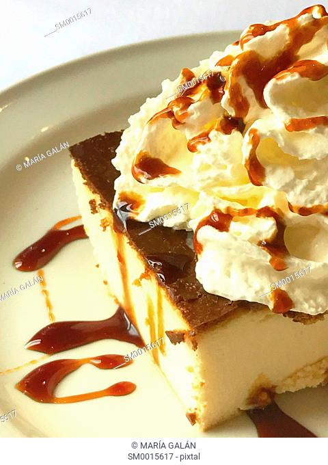 Cake with cream and toffee syrup