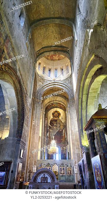Pictures & images of the interior main aisle and apse fresco depicting Christ Pantocrator. The Eastern Orthodox Georgian Svetitskhoveli Cathedral (Cathedral of...