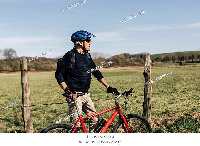 Mountainbiker with cycling helmet