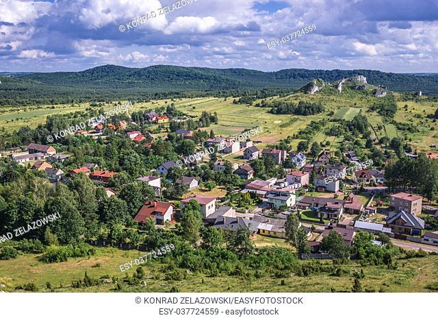 Aerial view of Olsztyn village from ruins of 14th century castle, Polish Jura region in Silesian Voivodeship of southern Poland