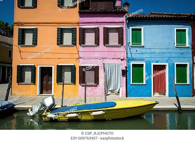 Boat on canal, Burano, Italy