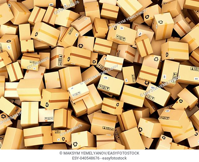 Stack of cardboard delivery boxes or parcels. Warehouse concept background. 3d