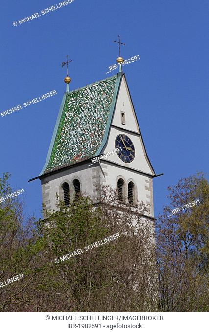 Bell tower of the Pfarrkirche Mariae Heimsuchung or parish church of the Visitation in Meersburg, Lake Constance, Landkreis Konstanz county, Baden-Wuerttemberg