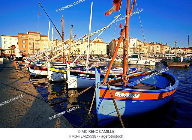 France, Var, Saint Tropez, pointus boats traditional Mediterranean boats in the old harbour