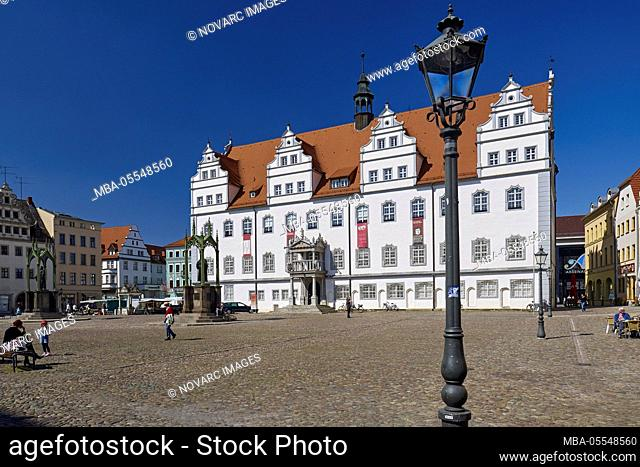 Market with town hall in Wittenberg, Saxony-Anhalt, Germany