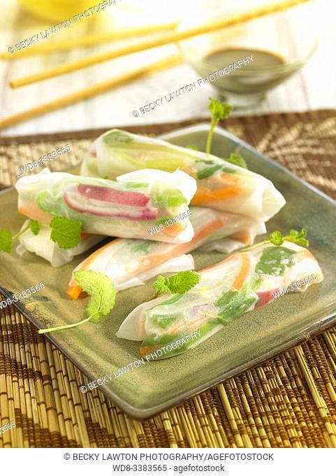 rollos de primavera de verduras al vapor / steamed vegetable spring rolls
