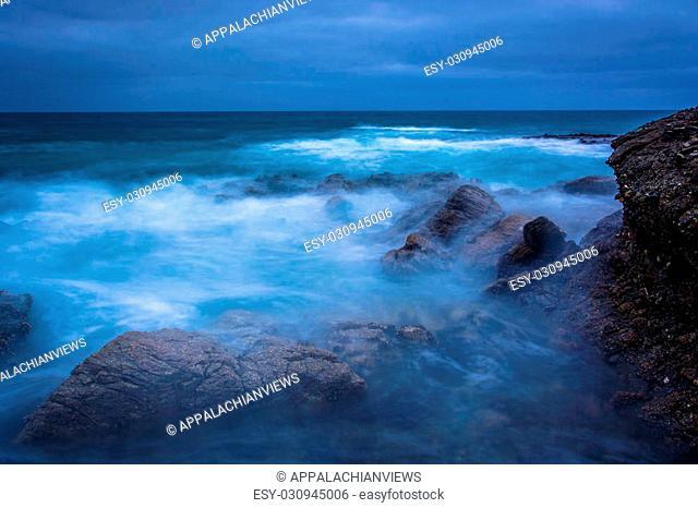 Long exposure of waves and rocks in the Pacific Ocean at Table Rock Beach, in Laguna Beach, California