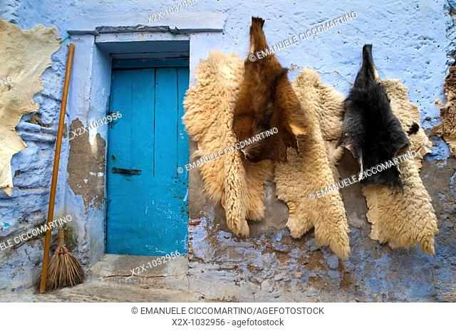 Skins on a typical house, Chefchaouen, Morocco