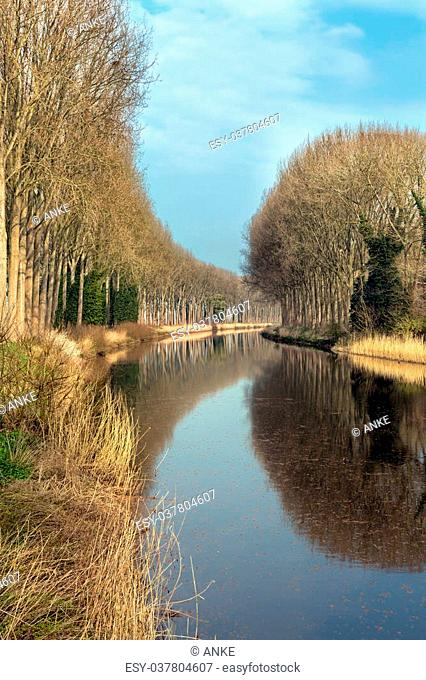 Picturesque view on the Damse Vaart canal in the village of Damme near Bruges in Belgium