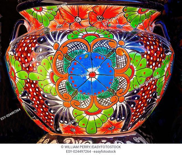 Colorful Souvenir Ceramic Blue Green Orange Flowers Pot Decoration Dolores Hidalgo Mexico