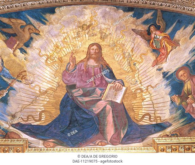 Redeemer in Glory, fresco by Boccaccio Boccaccino (1468-1525) in the apse of the Cathedral of Santa Maria Assunta, Cremona. Italy, 16th century
