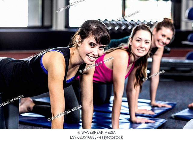 Fit smiling group doing exercise